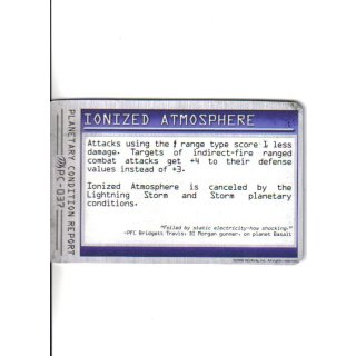 Planetary Condition Report: Ionized Atmosphere
