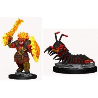 WizKids Painted Miniatures: Fire Orc & Fire Centipede